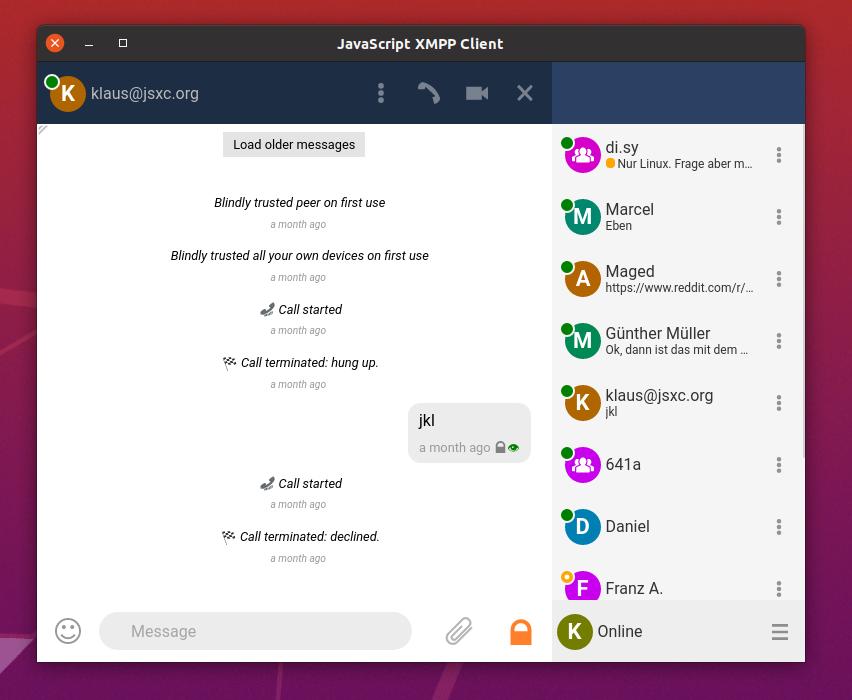 Screenshot JSXC Desktop large with chat window